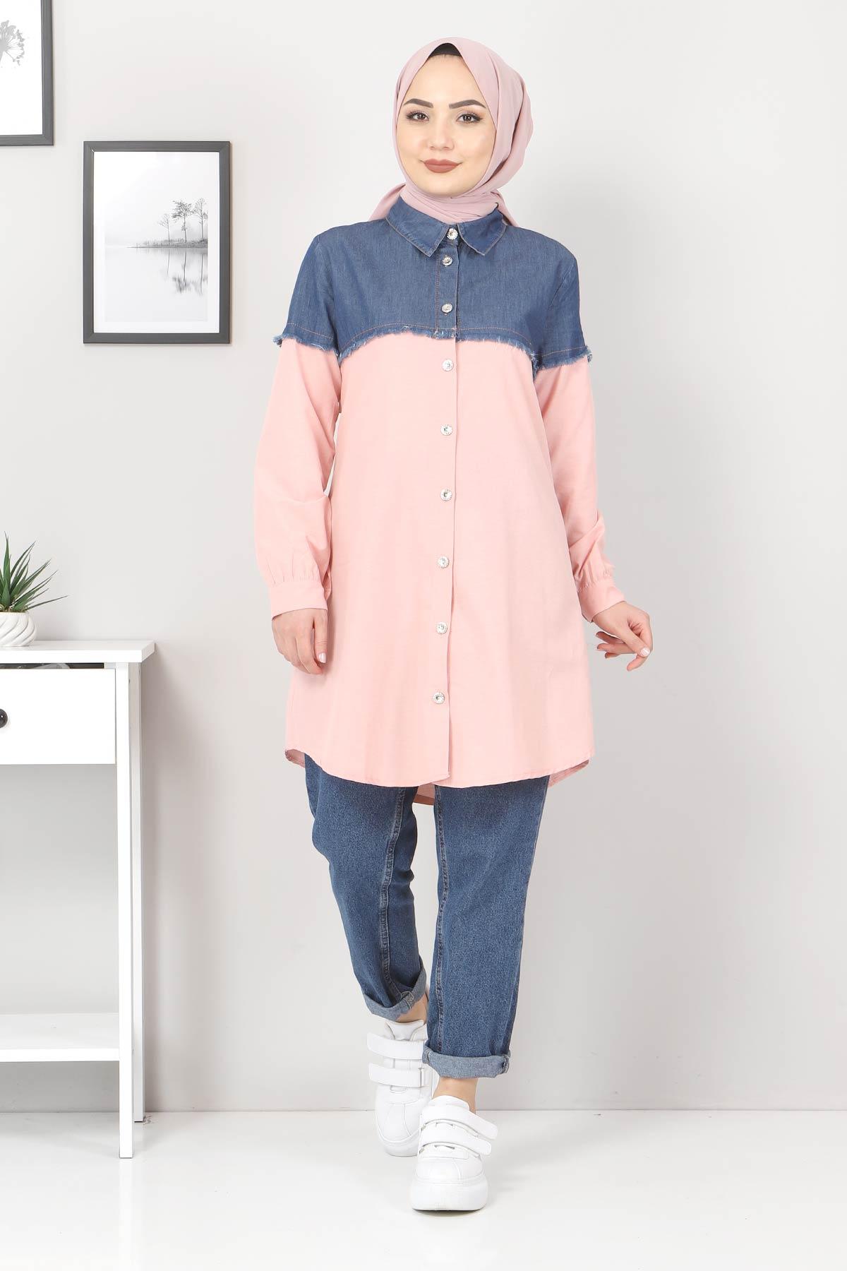 Kot Detaylı Gömlek TSD2602 Pudra