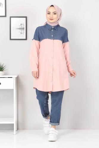 Kot Detaylı Gömlek TSD2602 Pudra - Thumbnail