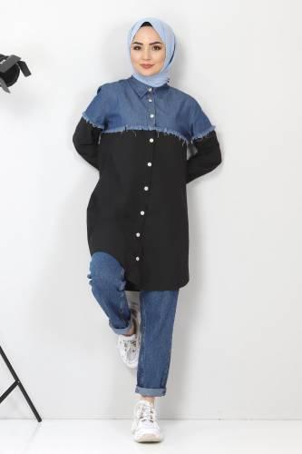 Tesettür Dünyası - Kot Detaylı Gömlek TSD2602 Siyah
