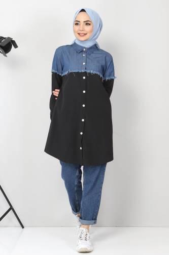 Tesettür Dünyası - Kot Detaylı Gömlek TSD2602 Siyah (1)