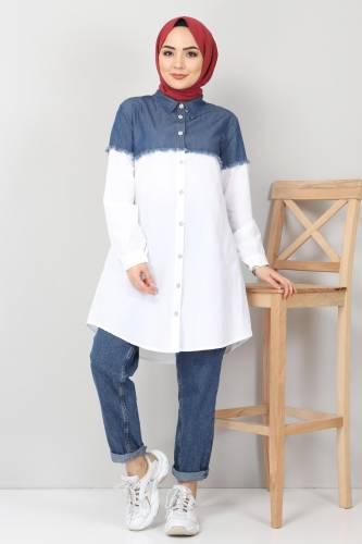 Tesettür Dünyası - Kot Detaylı Gömlek TSD2602 Beyaz