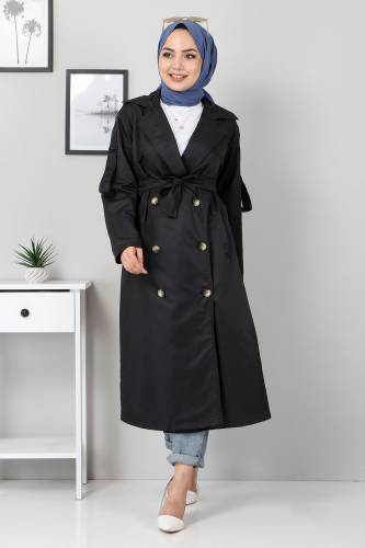 Tesettür Dünyası - Double Breasted Buttoned Trench Coat TSD5502 Black (1)