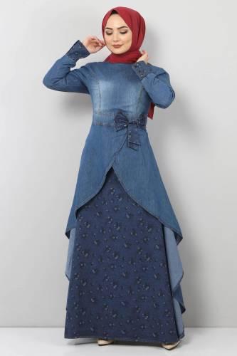 Tesettür Dünyası - Kurdela Detaylı Kot Elbise TSD8790 Mavi
