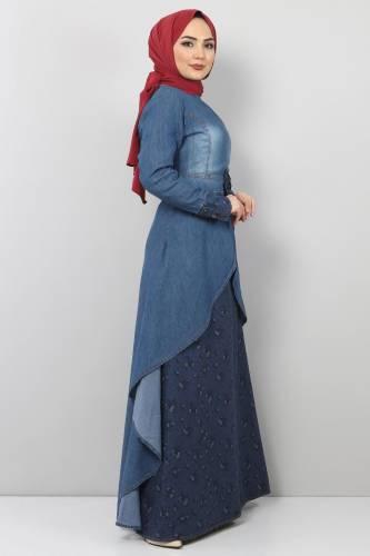 Tesettür Dünyası - Kurdela Detaylı Kot Elbise TSD8790 Mavi (1)