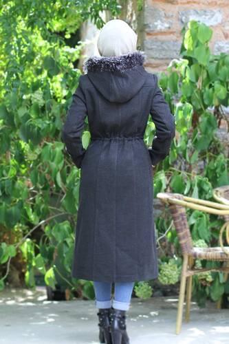 Lace-Up Cachet Coat TSD9926 Anthracite - Thumbnail