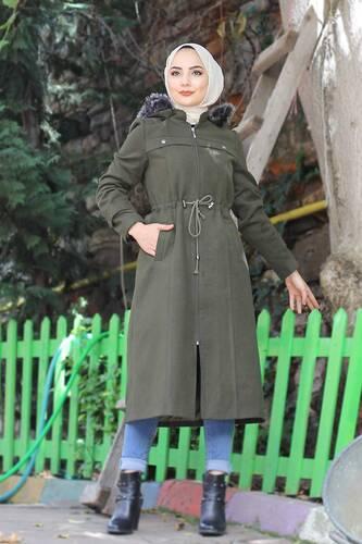 Lace-Up Cachet Coat TSD9926 Khaki - Thumbnail