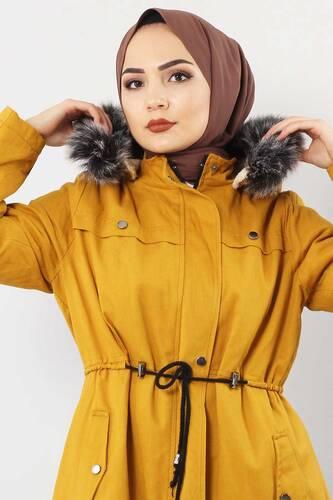 Lace-Up Gabardine Coat TSD8965 Mustard - Thumbnail