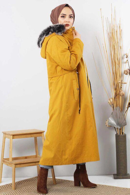 Lace-Up Gabardine Coat TSD8965 Mustard
