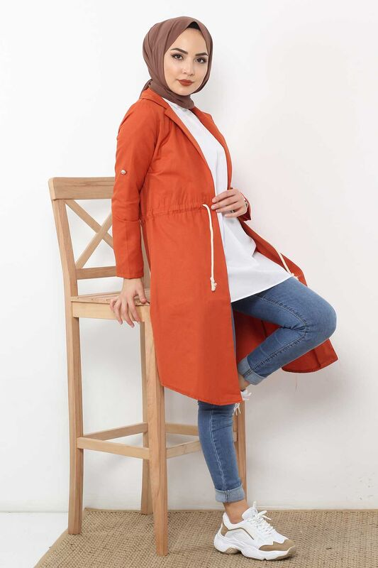 Laced Trench Coat TSD0466 Brick color.