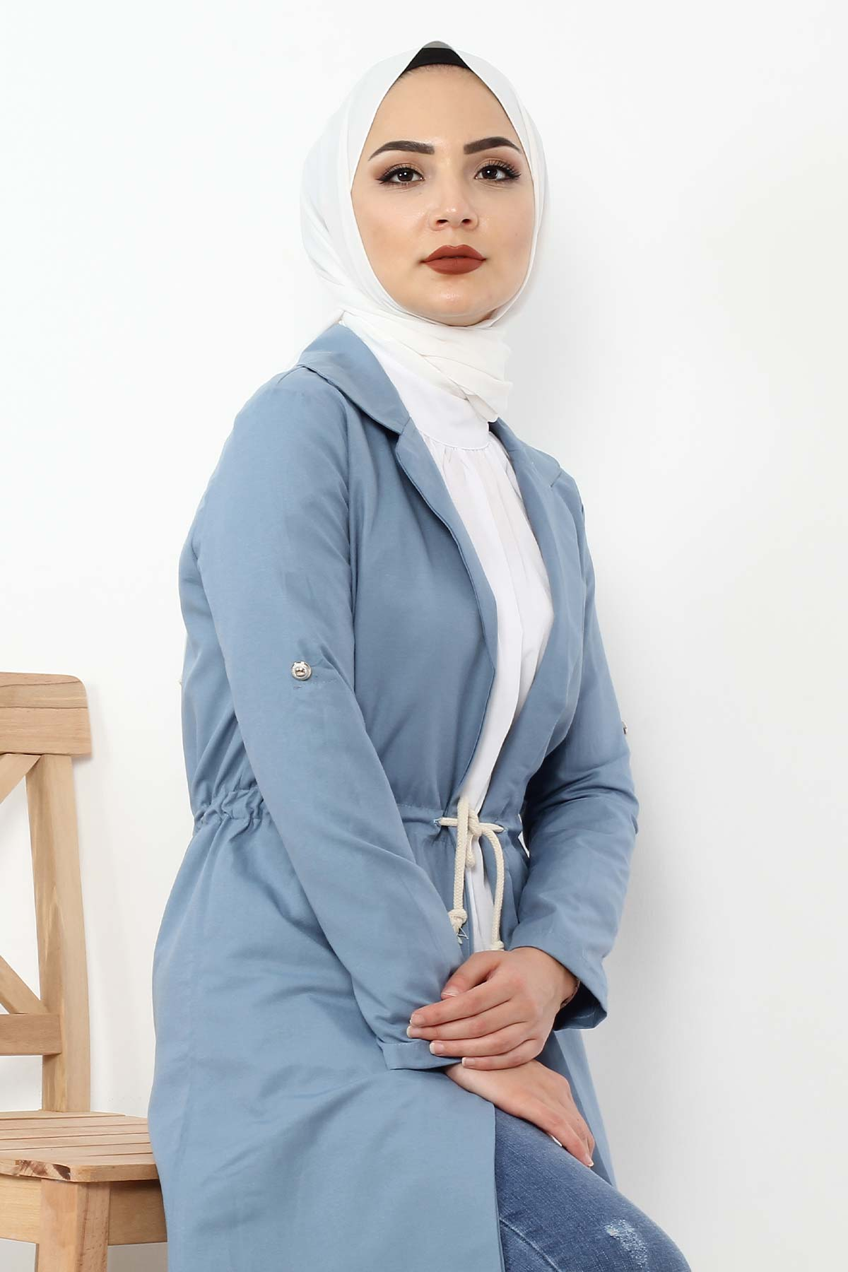 Laced Trench Coat TSD0466 Jeans Blue