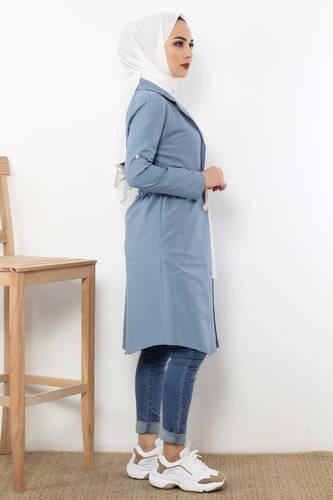 Laced Trench Coat TSD0466 Jeans Blue - Thumbnail