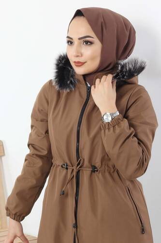 Laced Waist Coat TSD3010 Brown. - Thumbnail