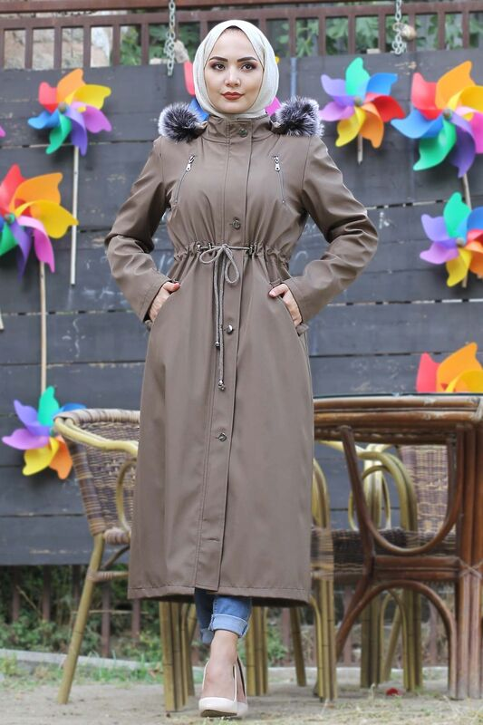 Laced Waist Fur Inside Coat TSD9901 Mink