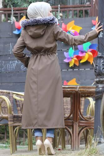 Laced Waist Fur Inside Coat TSD9901 Mink - Thumbnail