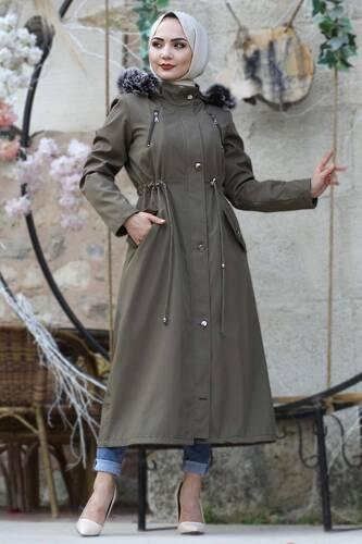Laced Waist Fur Inside Jacket TSD9901 Khaki - Thumbnail