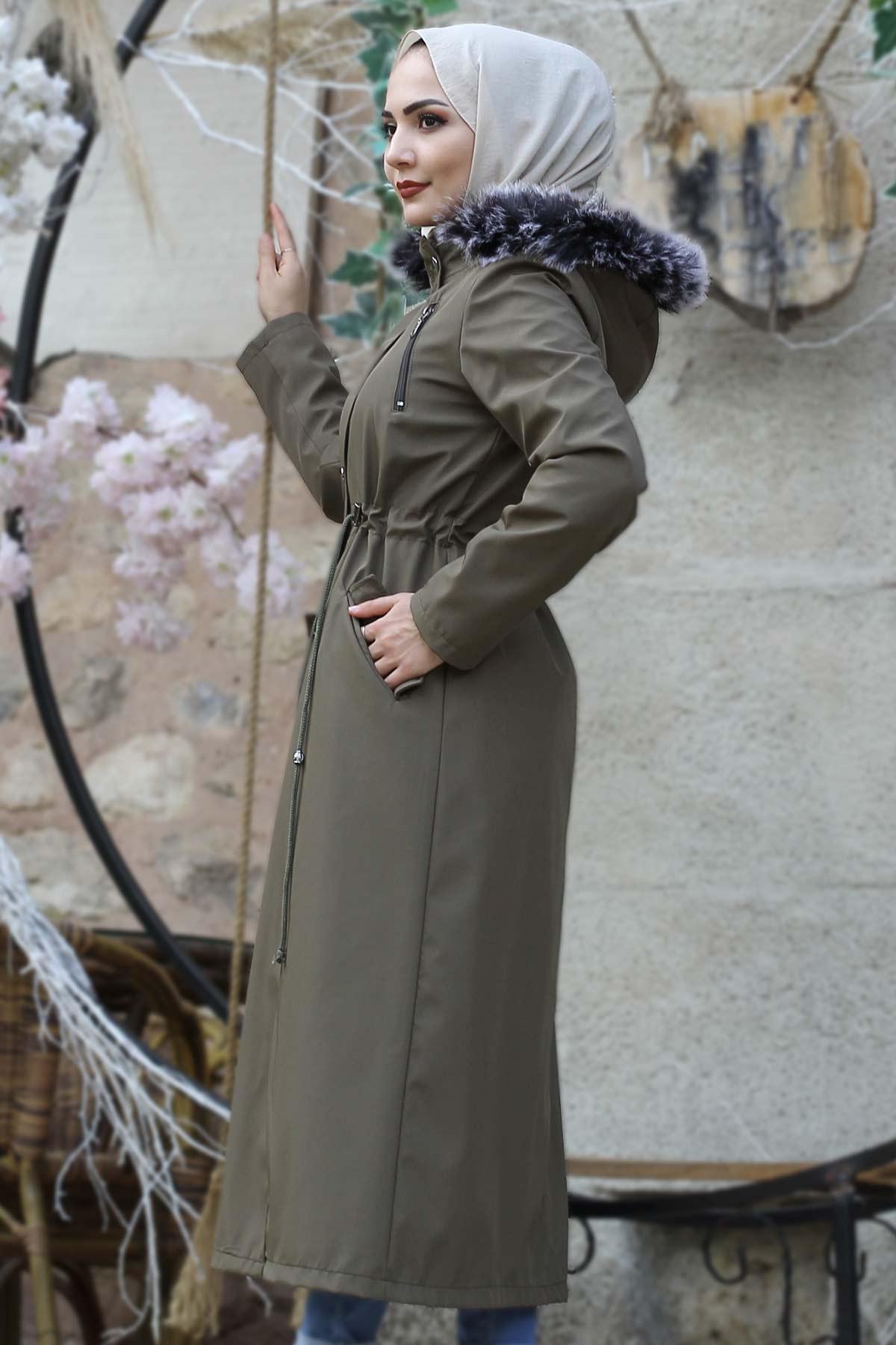Laced Waist Fur Inside Jacket TSD9901 Khaki