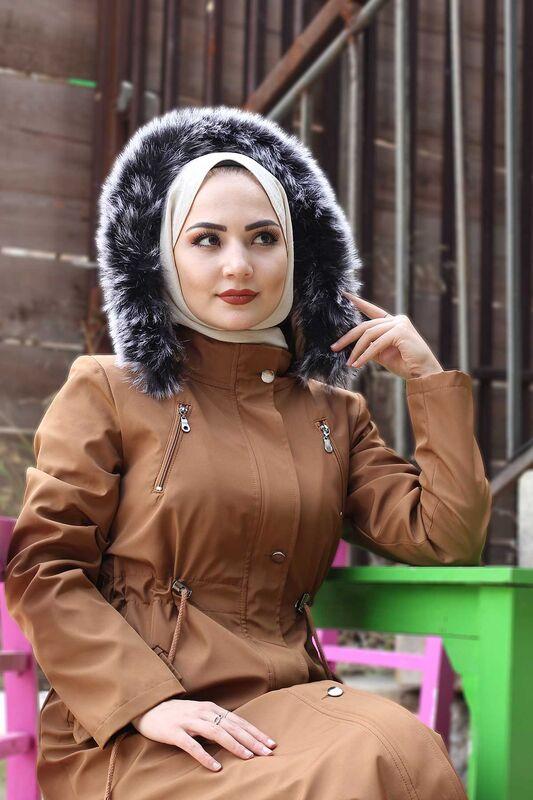 Laced Waist Fur Inside Jacket TSD9901 Taba