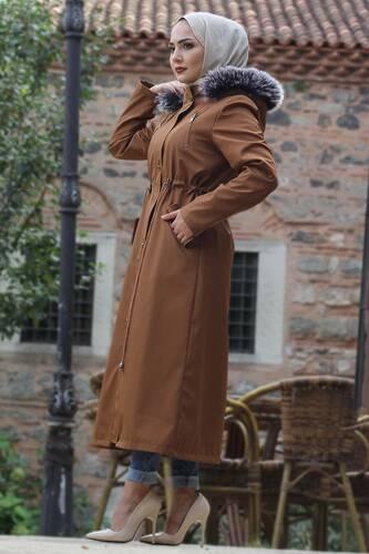 Laced Waist Fur Inside Jacket TSD9901 Taba - Thumbnail
