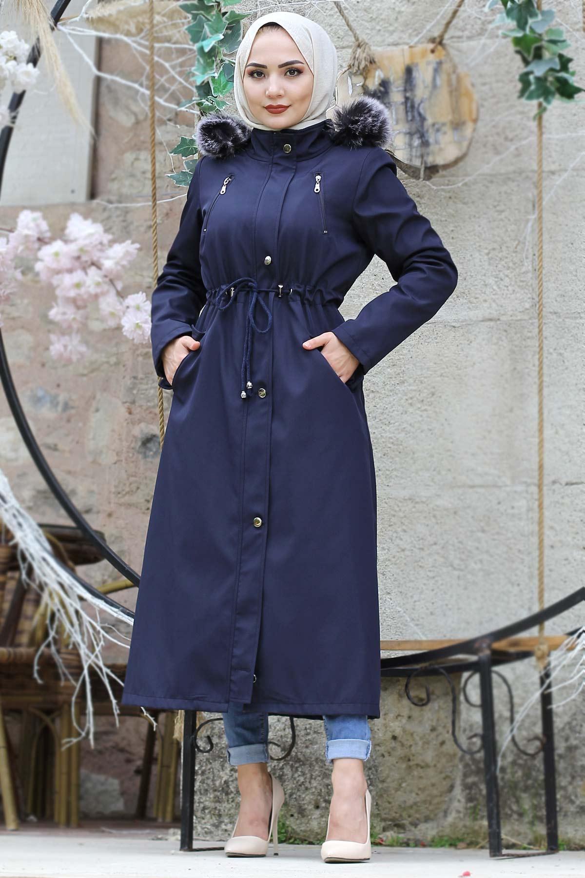 Laced Waist Furry Coat TSD9901 Navy Blue