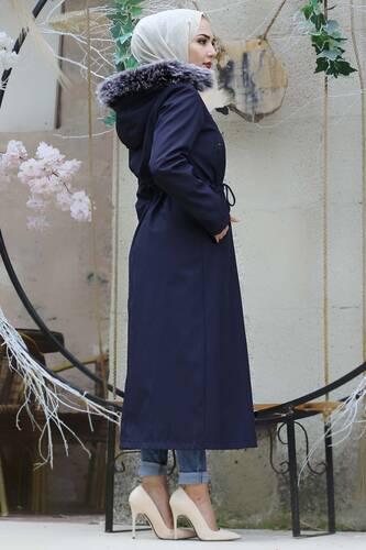Laced Waist Furry Coat TSD9901 Navy Blue - Thumbnail