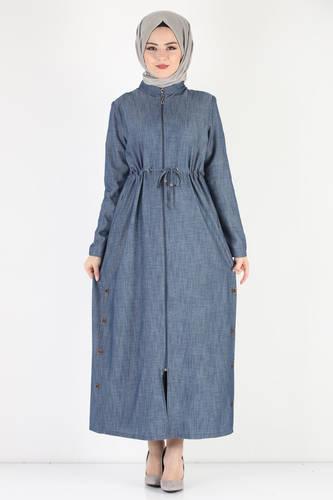 Tesettür Dünyası - Laced Waist Oversized Overcoat TSD0890 Blue