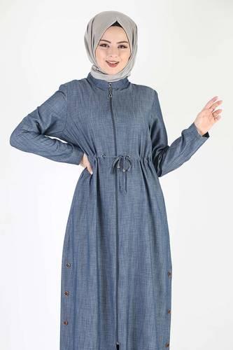 Tesettür Dünyası - Laced Waist Oversized Overcoat TSD0890 Blue (1)