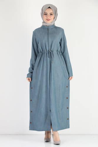 Tesettür Dünyası - Laced Waist Oversized Overcoat TSD0890 Light Blue