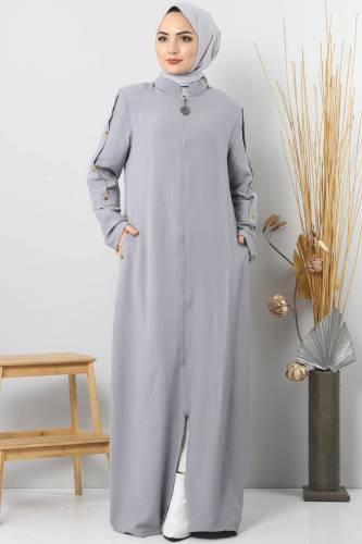 Large Size Buttoned Abaya TSD8889 Gray - Thumbnail