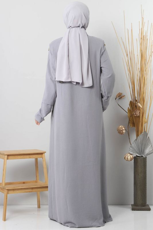 Large Size Buttoned Abaya TSD8889 Gray