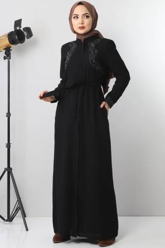 Tesettür Dünyası - Large size embroidered abaya TSD2005 Black