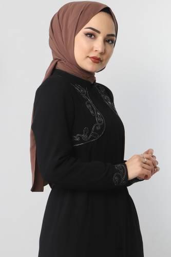 Tesettür Dünyası - Large size embroidered abaya TSD2005 Black (1)