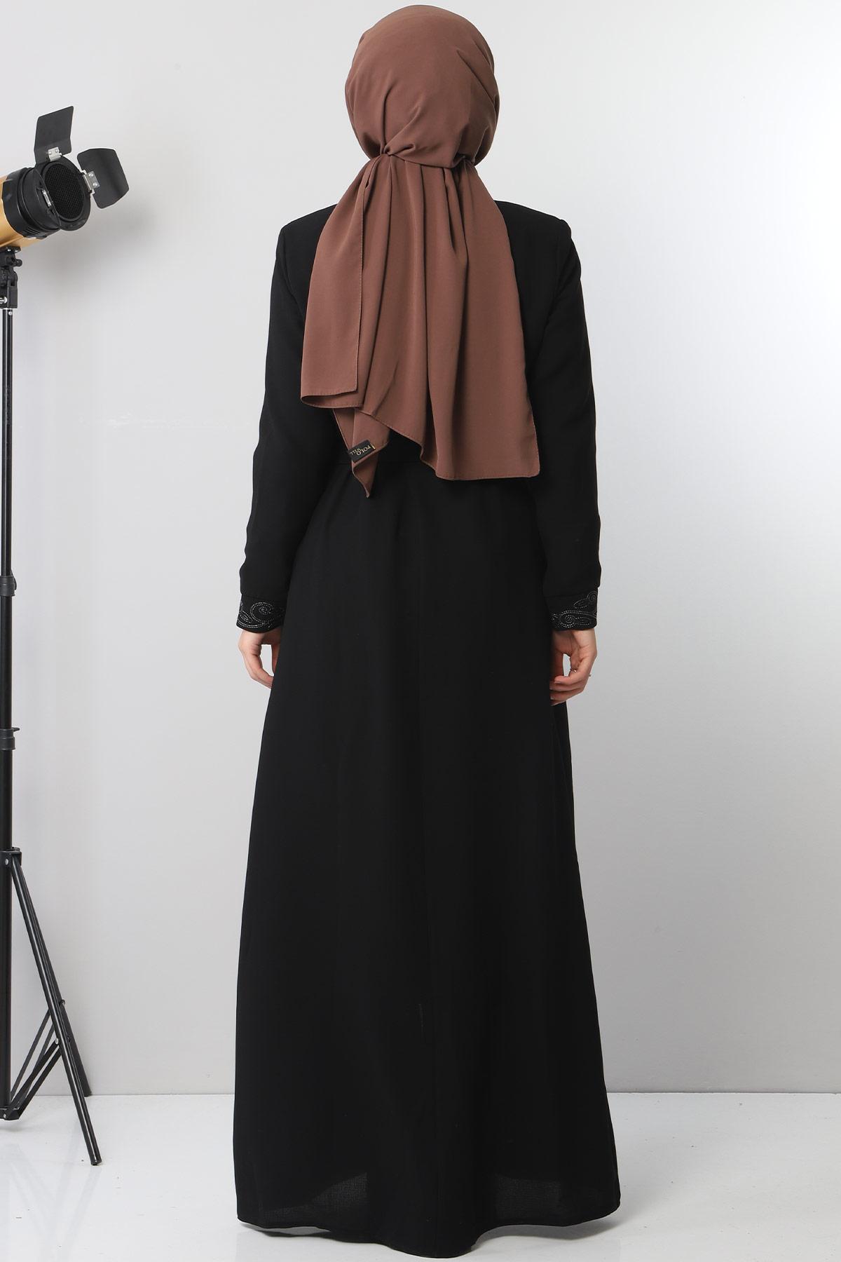 Large size embroidered abaya TSD2005 Black