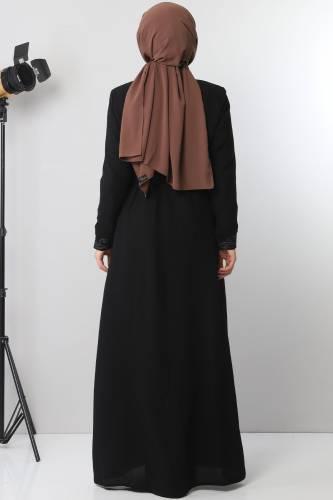 Large size embroidered abaya TSD2005 Black - Thumbnail