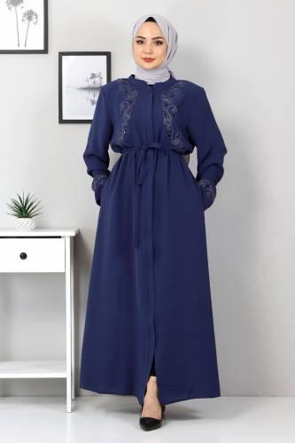 Tesettür Dünyası - Large Size Embroidered Abaya TSD2005 Blue
