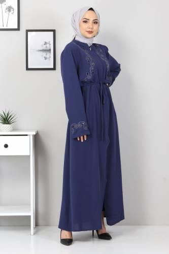 Tesettür Dünyası - Large Size Embroidered Abaya TSD2005 Blue (1)