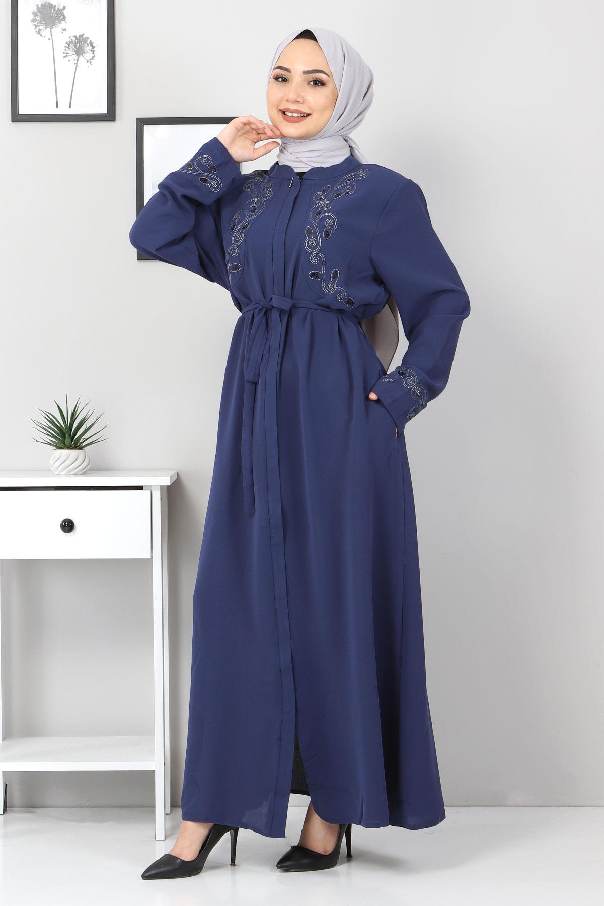 Large Size Embroidered Abaya TSD2005 Blue