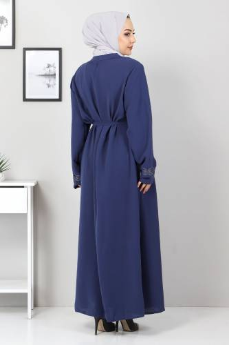 Large Size Embroidered Abaya TSD2005 Blue - Thumbnail