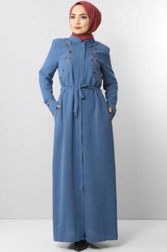 Tesettür Dünyası - Large Size Embroidered Abaya TSD2005 Dark Blue