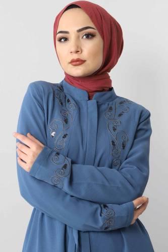 Tesettür Dünyası - Large Size Embroidered Abaya TSD2005 Dark Blue (1)