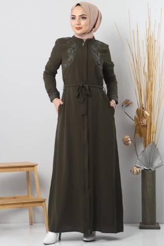 Tesettür Dünyası - Large size embroidered abaya TSD2005 Khaki