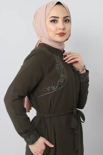 Tesettür Dünyası - Large size embroidered abaya TSD2005 Khaki (1)