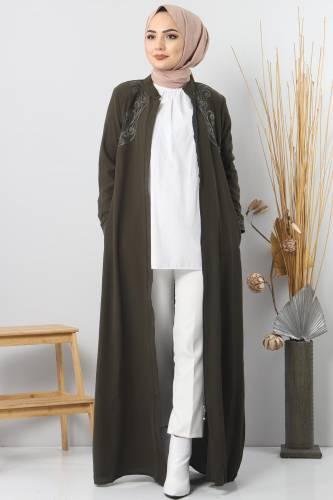 Large size embroidered abaya TSD2005 Khaki - Thumbnail