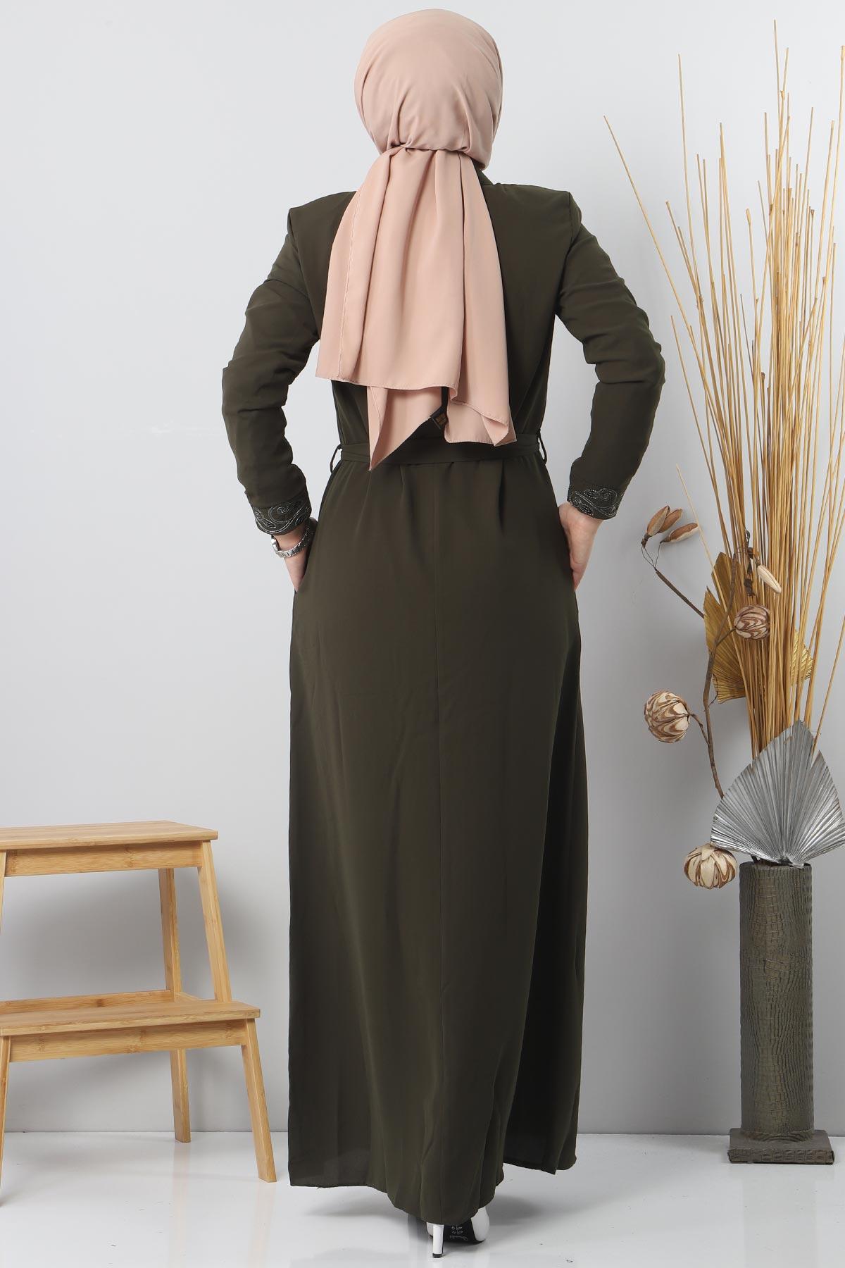 Large size embroidered abaya TSD2005 Khaki