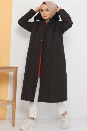 Large Size Furry Quilted Coat TSD7076 Black - Thumbnail