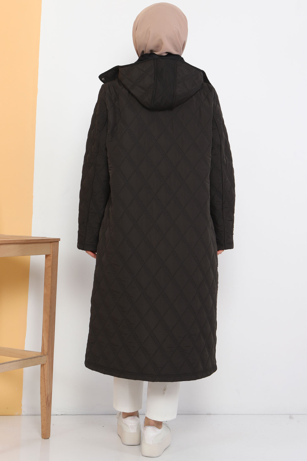 Large Size Furry Quilted Coat TSD7076 Black