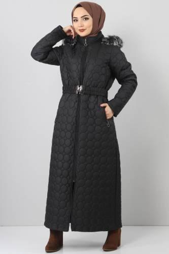 Tesettür Dünyası - Large size quilted coat TSD1566 black
