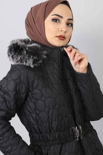Tesettür Dünyası - Large size quilted coat TSD1566 black (1)