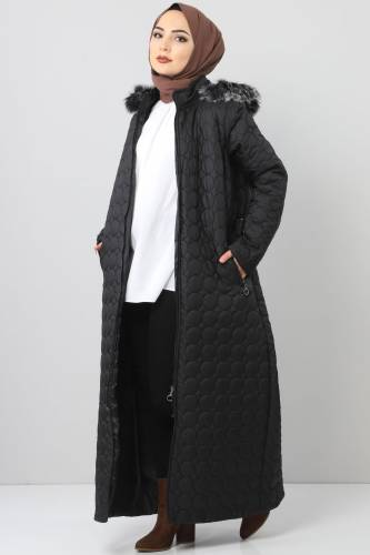Large size quilted coat TSD1566 black - Thumbnail