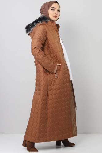 Tesettür Dünyası - Large size quilted coat TSD1566 brown