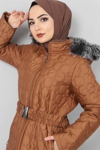Tesettür Dünyası - Large size quilted coat TSD1566 brown (1)